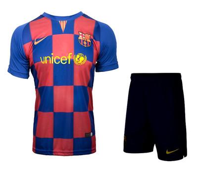تصویر ست پیراهن و شورت ورزشی پسرانه طرح بارسلونا مدل 010