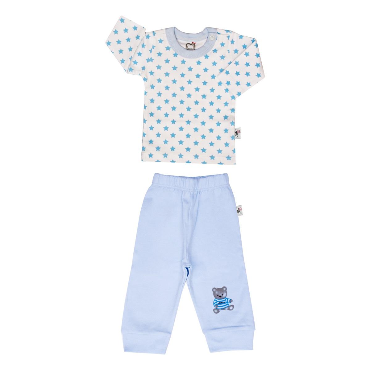 ست تی شرت و شلوار نوزادی پسرانه آدمک طرح ستاره آبی  کد 04
