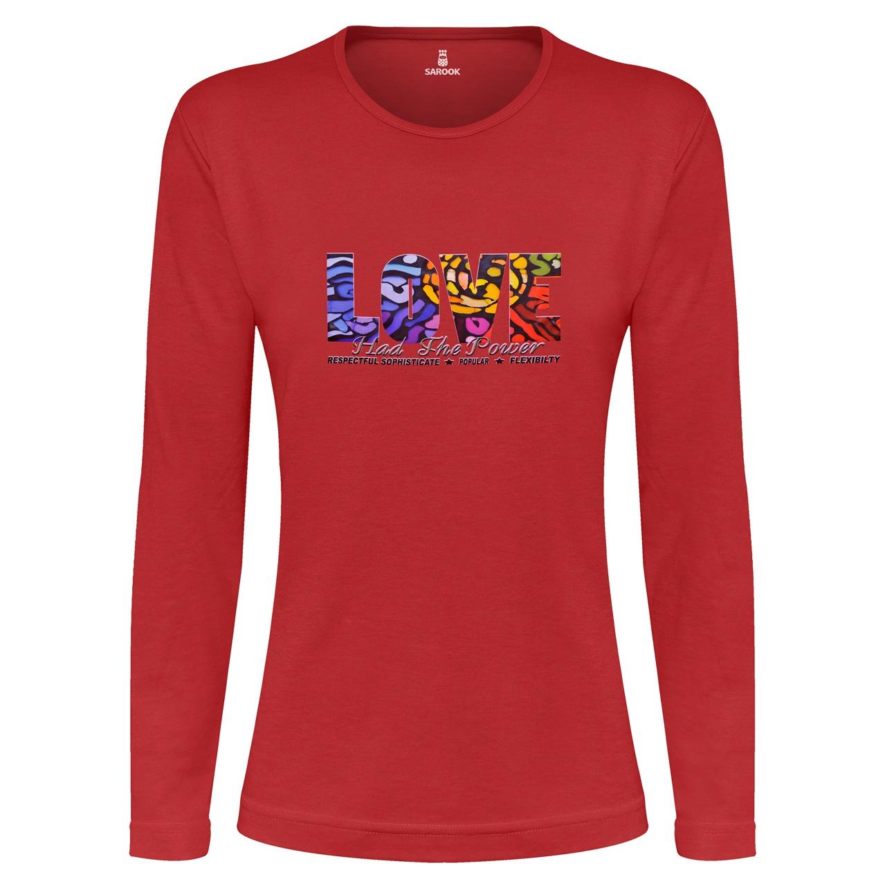تی شرت آستین بلند نه ساروک طرح LOVE رنگ قرمز