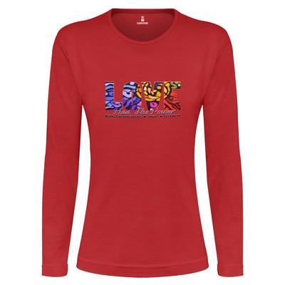 تصویر تی شرت آستین بلند زنانه ساروک طرح LOVE رنگ قرمز