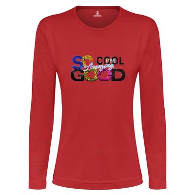 تی شرت آستین بلند زنانه ساروک طرح SO COOL رنگ قرمز