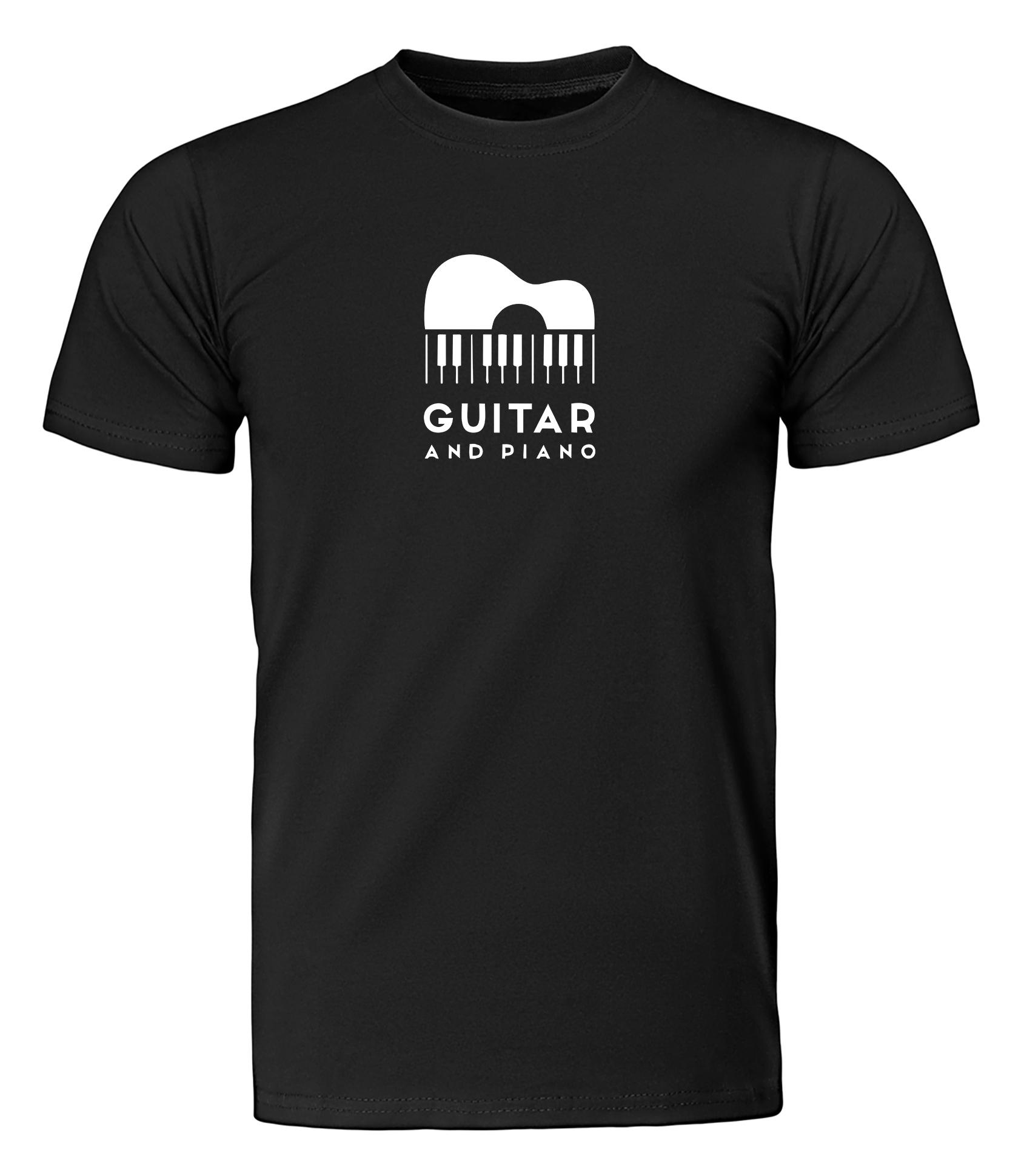 تصویر تی شرت مردانه طرح گیتار و پیانو کد ws98