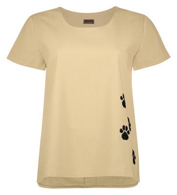 تصویر تیشرت زنانه پری سا طرح گربه رنگ نخودی