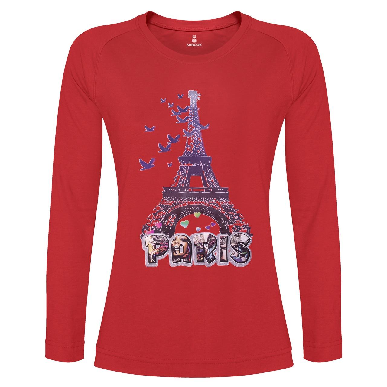 تی شرت آستین بلند زنانه ساروک طرح Eiffel کد 02