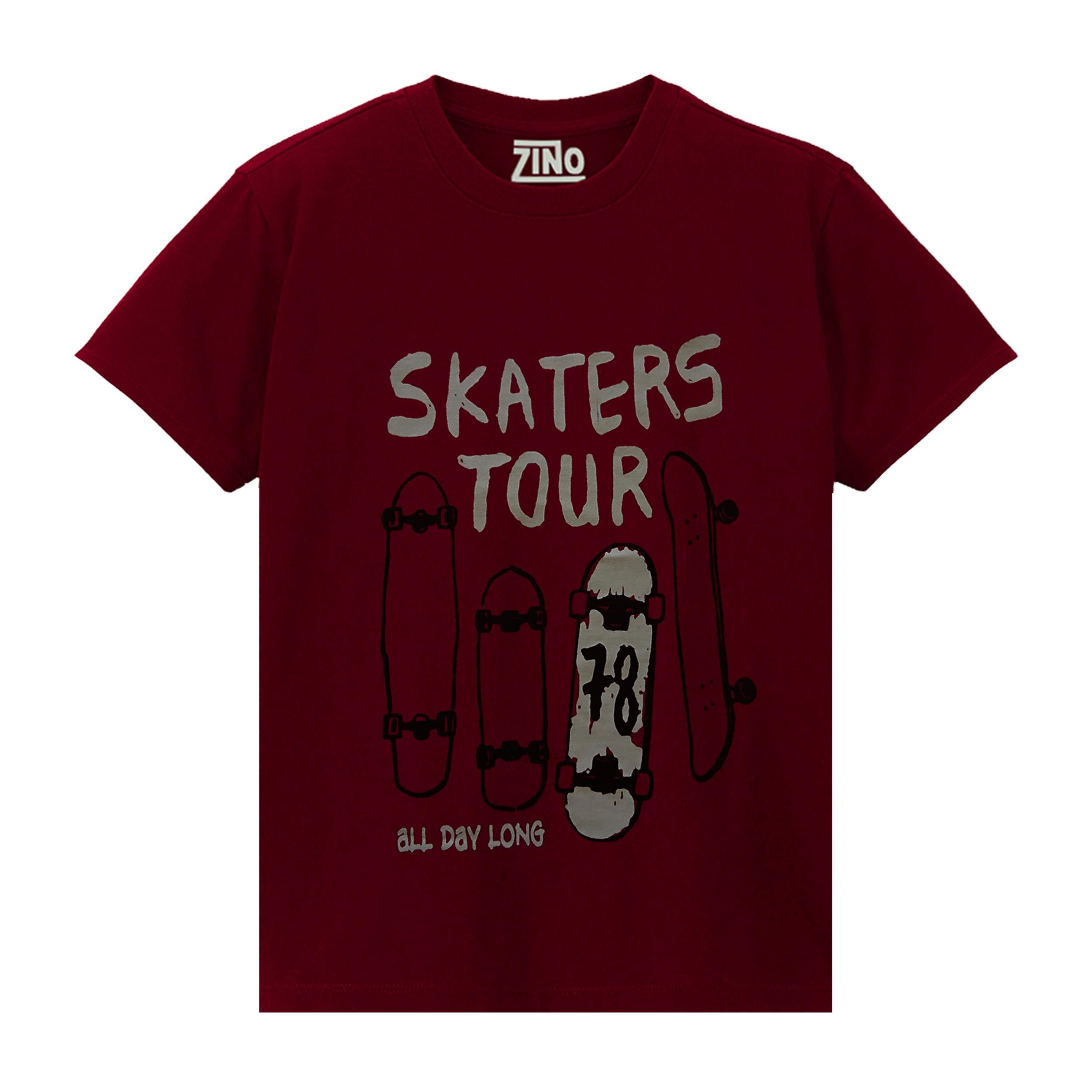 تی شرت پسرانه زینو طرح Skaters رنگ زرشکی