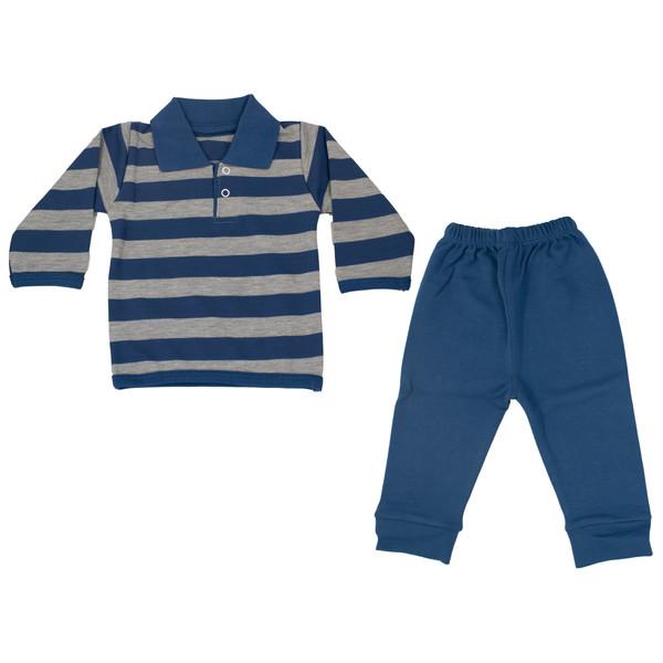 ست تی شرت و شلوار نوزادی پسرانه طرح راه راه