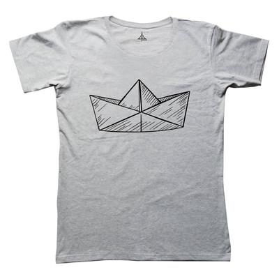 تی شرت زنانه به رسم طرح قایق کاغذی کد 4449