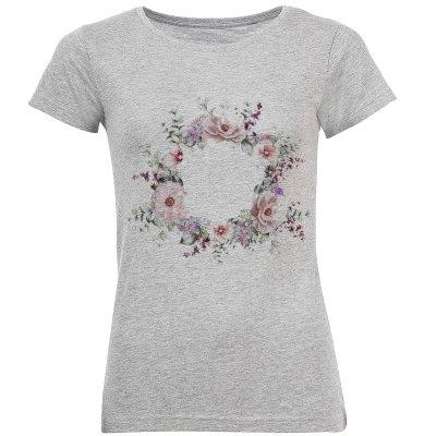 تی شرت آستین کوتاه زنانه طرح گل کد S01