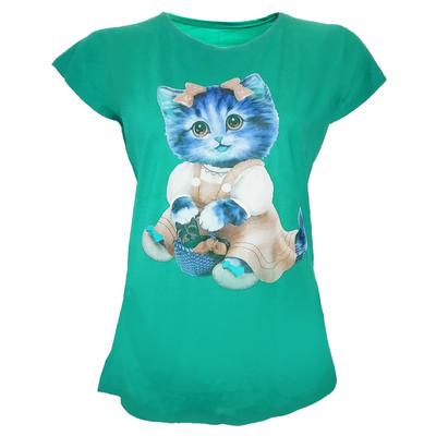 تی شرت زنانه طرح گربه مدل tm-512 رنگ سبز
