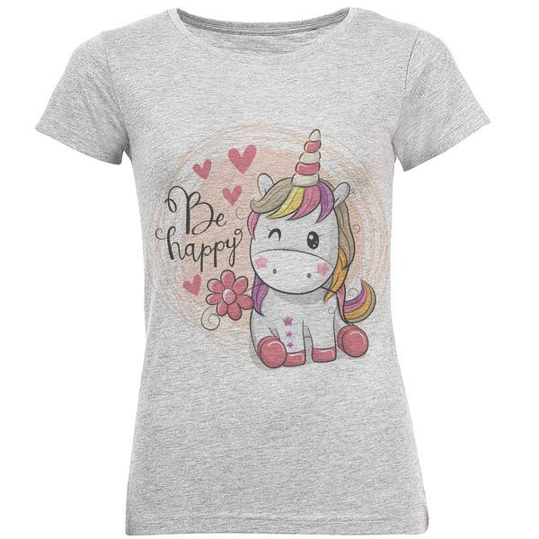 تی شرت آستین کوتاه زنانه طرح اسب تک شاخ کد S300