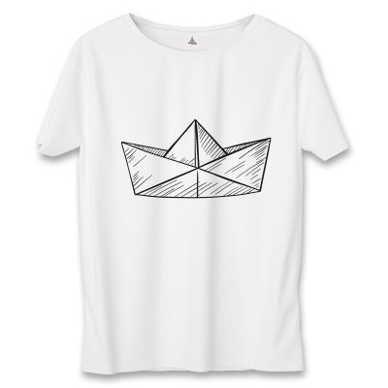 تصویر تی شرت زنانه به رسم طرح قایق کاغذی کد 5549