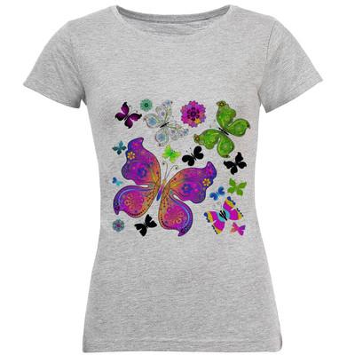 تی شرت آستین کوتاه زنانه طرح پروانه کد S110