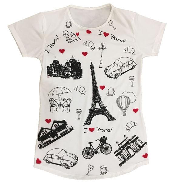 تی شرت آستین کوتاه زنانه طرح پاریس کد ۱۰۰
