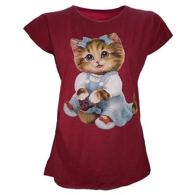 تیشرت زنانه طرح گربه کد tm-511 رنگ زرشکی