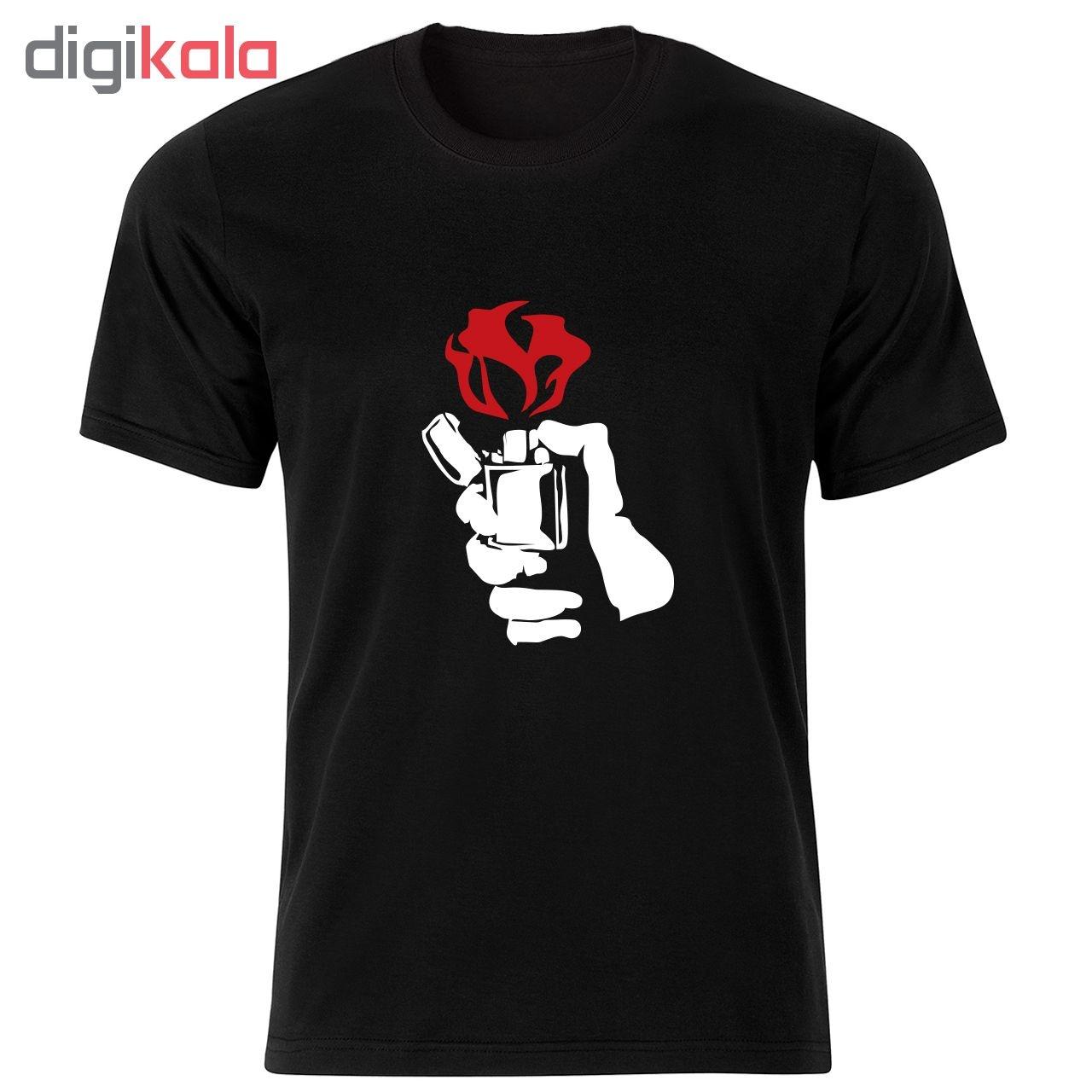 تی شرت مردانه طرح گل و فندک کد 34290