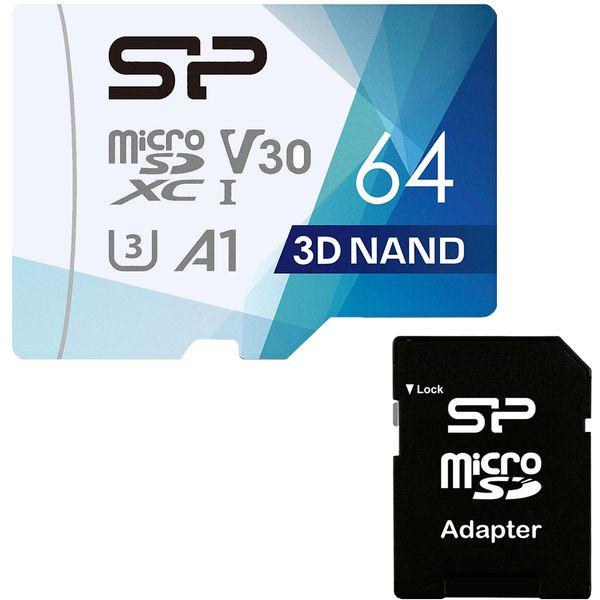 کارت حافظه microSDXC سیلیکون پاور مدل Superior Pro کلاس 10 استاندارد UHS-I U3 سرعت 100MBps ظرفیت 64 گیگابایت به همراه آداپتور SD