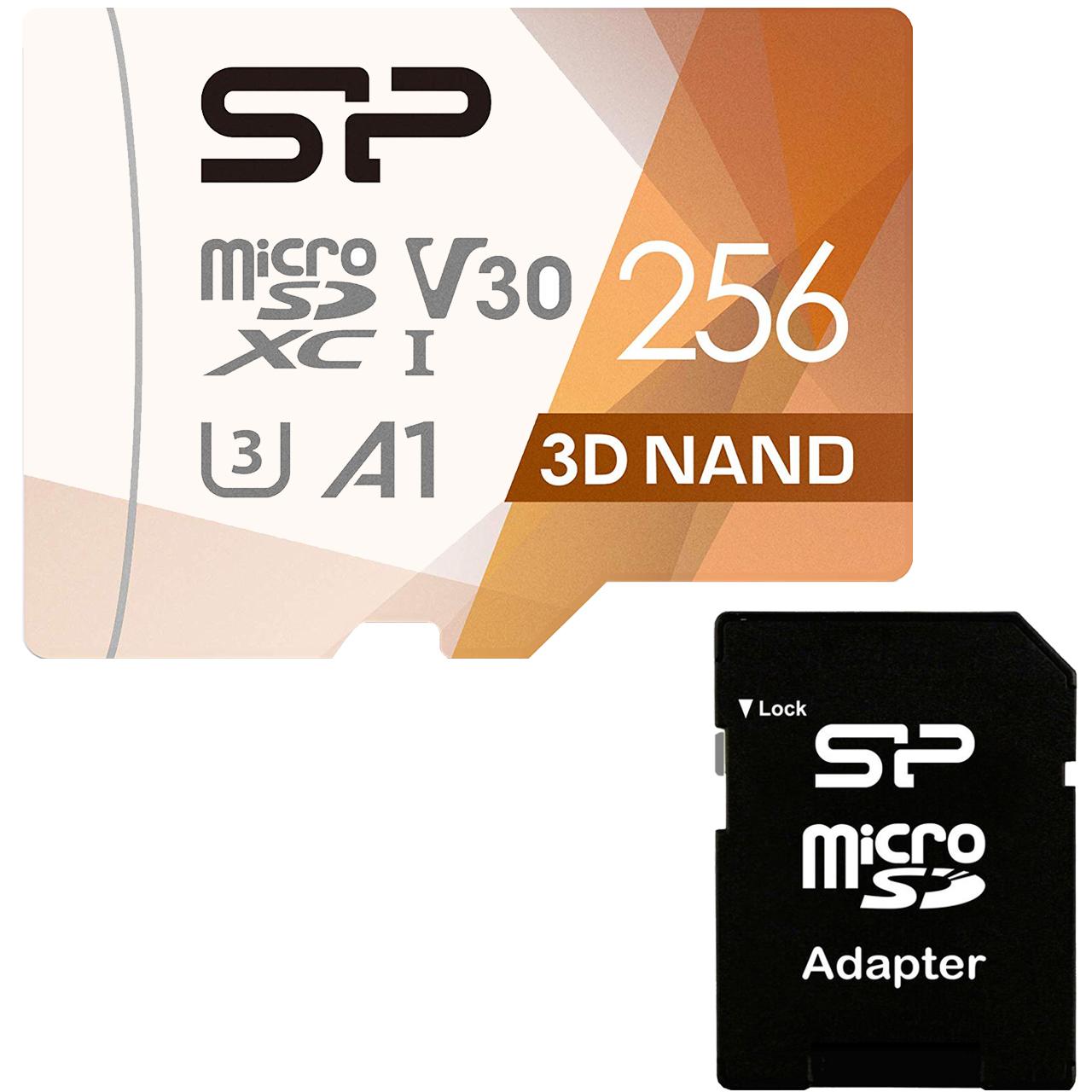 کارت حافظه microSDXC سیلیکون پاور مدل Superior Pro کلاس 10 استاندارد UHS-I U3 سرعت 100MBps ظرفیت 256 گیگابایت به همراه آداپتور SD