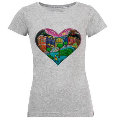 تصویر تی شرت آستین کوتاه زنانه طرح قلب کد S118