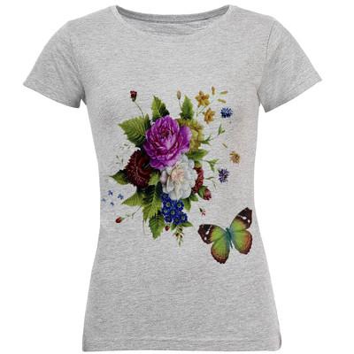 تی شرت آستین کوتاه زنانه طرح گل مدل S143