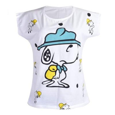 تی شرت آستین کوتاه زنانه  طرح اسنوپی کد 104