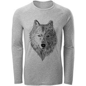 تی شرت آستین بلند مردانه طرح wolf مدل S295