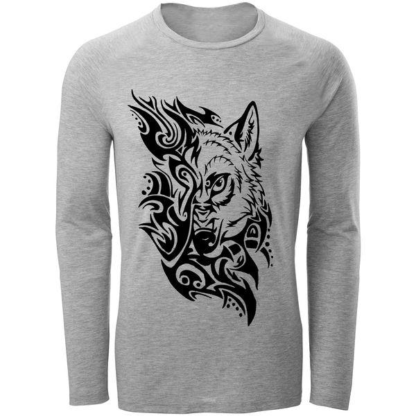 تی شرت آستین بلند مردانه طرح wolf مدل S302