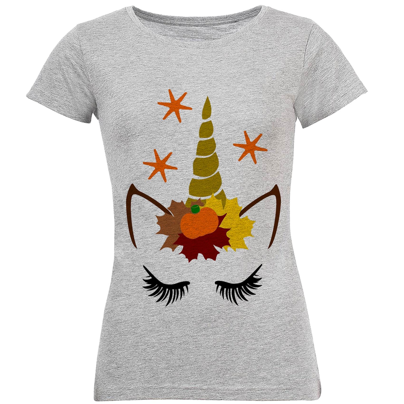 تی شرت آستین کوتاه زنانه طرح اسب تک شاخ مدل S239