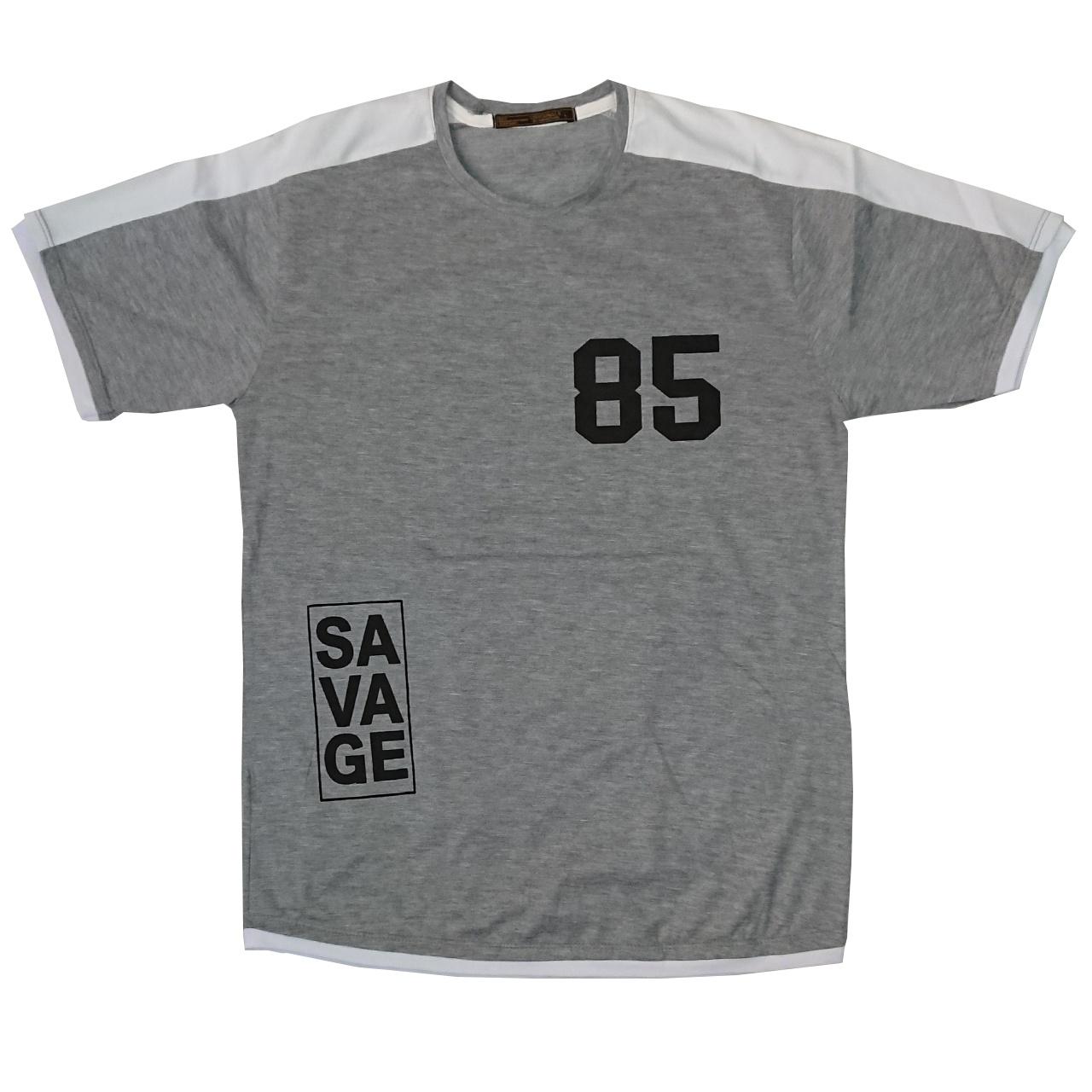 تصویر تی شرت مردانه طرح هشتاد و پنج رنگ طوسی