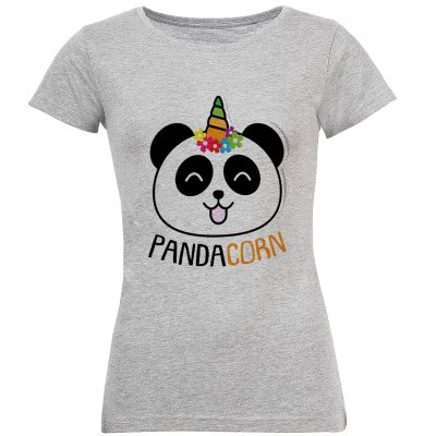 تی شرت آستین کوتاه زنانه طرح پاندا تک شاخ مدل S266