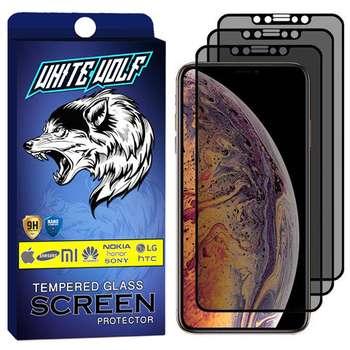 محافظ صفحه نمایش حریم شخصی وایت ولف مدل WGP مناسب برای گوشی موبایل اپل iPhone XR بسته 3 عددی
