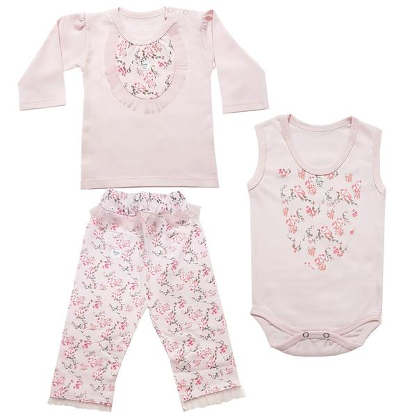 ست ۳ تکه لباس نوزادی دخترانه مدل روشا کد 001