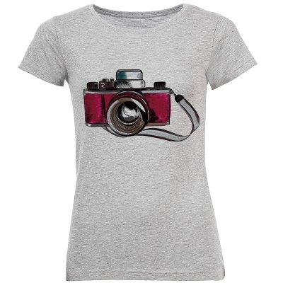 تی شرت آستین کوتاه زنانه طرح دوربین عکاسی مدل S380
