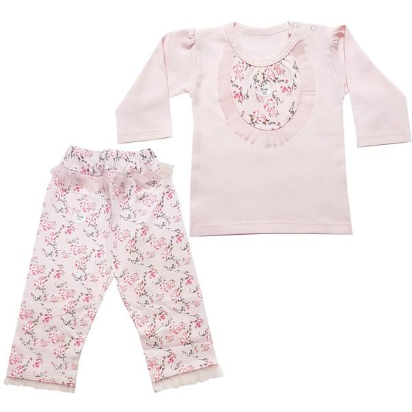 ست تی شرت و شلوار نوزادی دخترانه مدل روشا