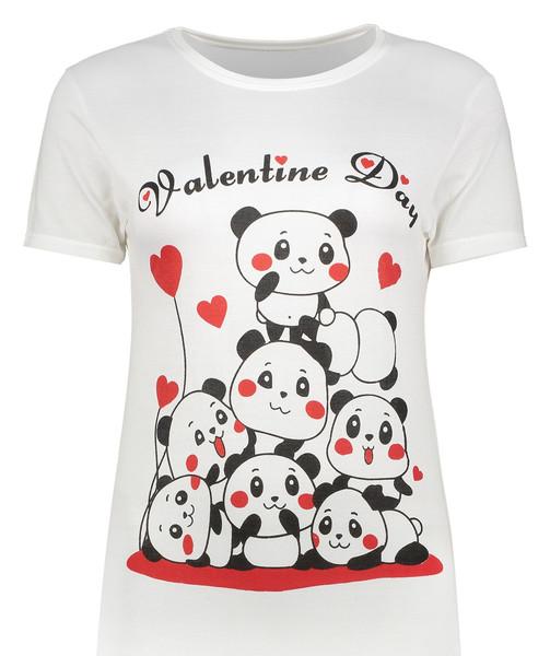 تی شرت زنانه طرح ولنتاین دی کد SR2041W