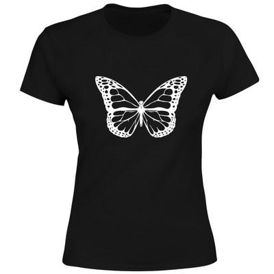 تصویر تی شرت آستین کوتاه زنانه طرح پروانه کد M13