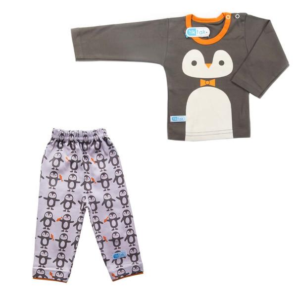 ست تی شرت آستین بلند و شلوار نوزادی تیک تاک طرح پنگوئن کد p2