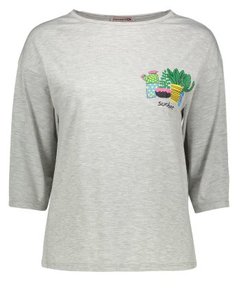 تی شرت زنانه افراتین طرح کاکتوس های رنگی کد 4-7505