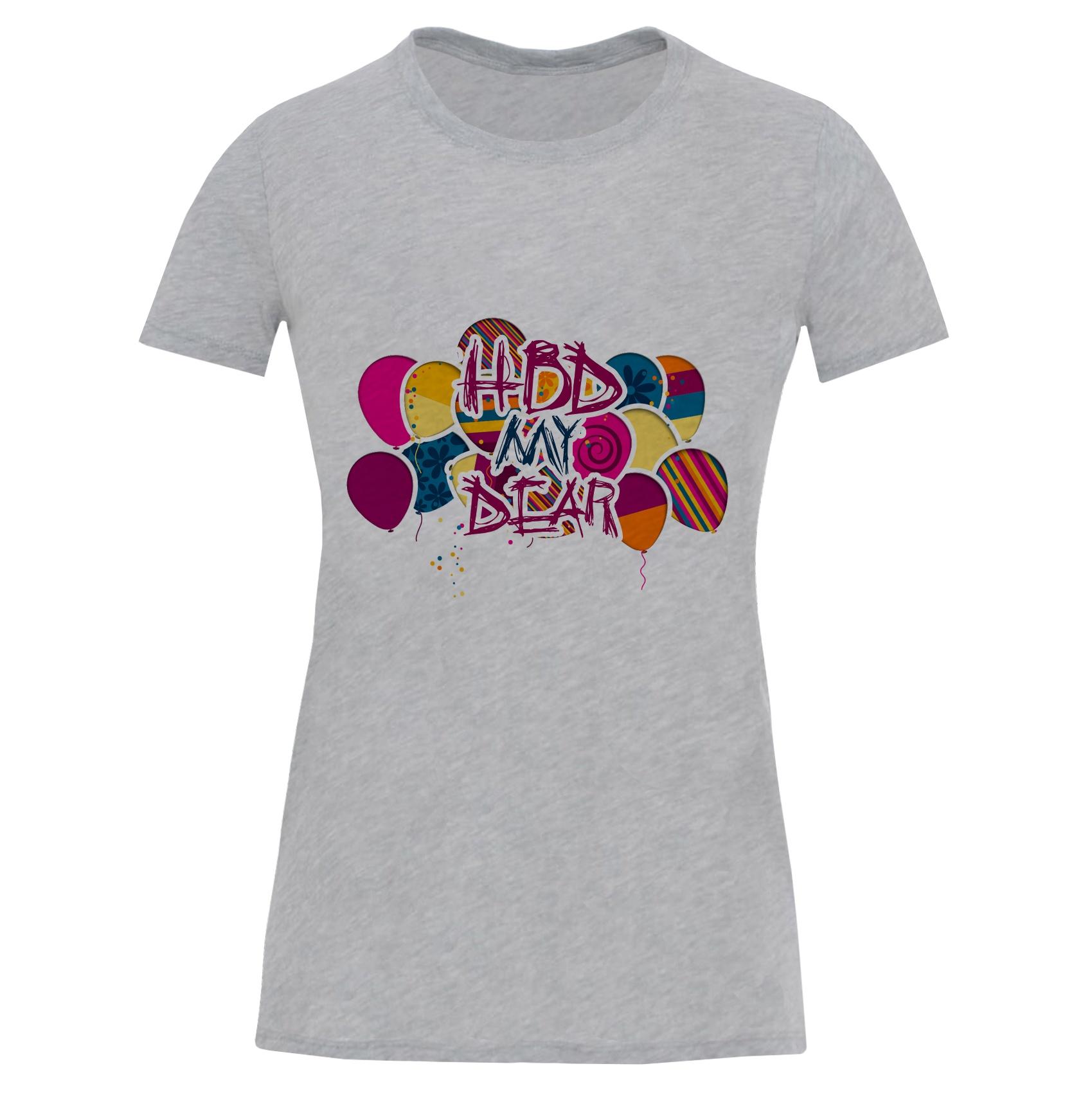 تصویر تی شرت آستین کوتاه زنانه طرح تولد کد S548