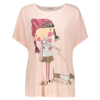 تی شرت زنانه افراتین طرح دختر و سگ کد 3526 رنگ صورتی روشن