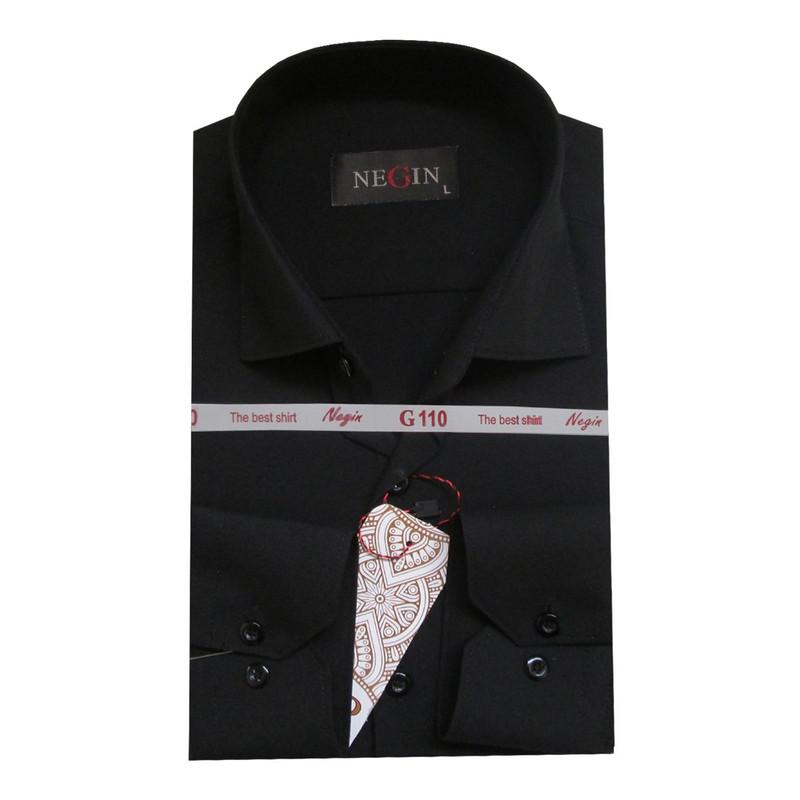 پیراهن مردانه نگین کد YA-20351 رنگ مشکی