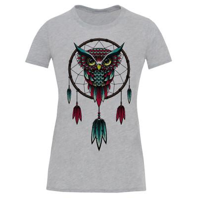 تصویر تی شرت آستین کوتاه زنانه طرح جغد کد S540