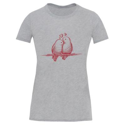 تصویر تی شرت آستین کوتاه زنانه طرح کبوتر کد S545