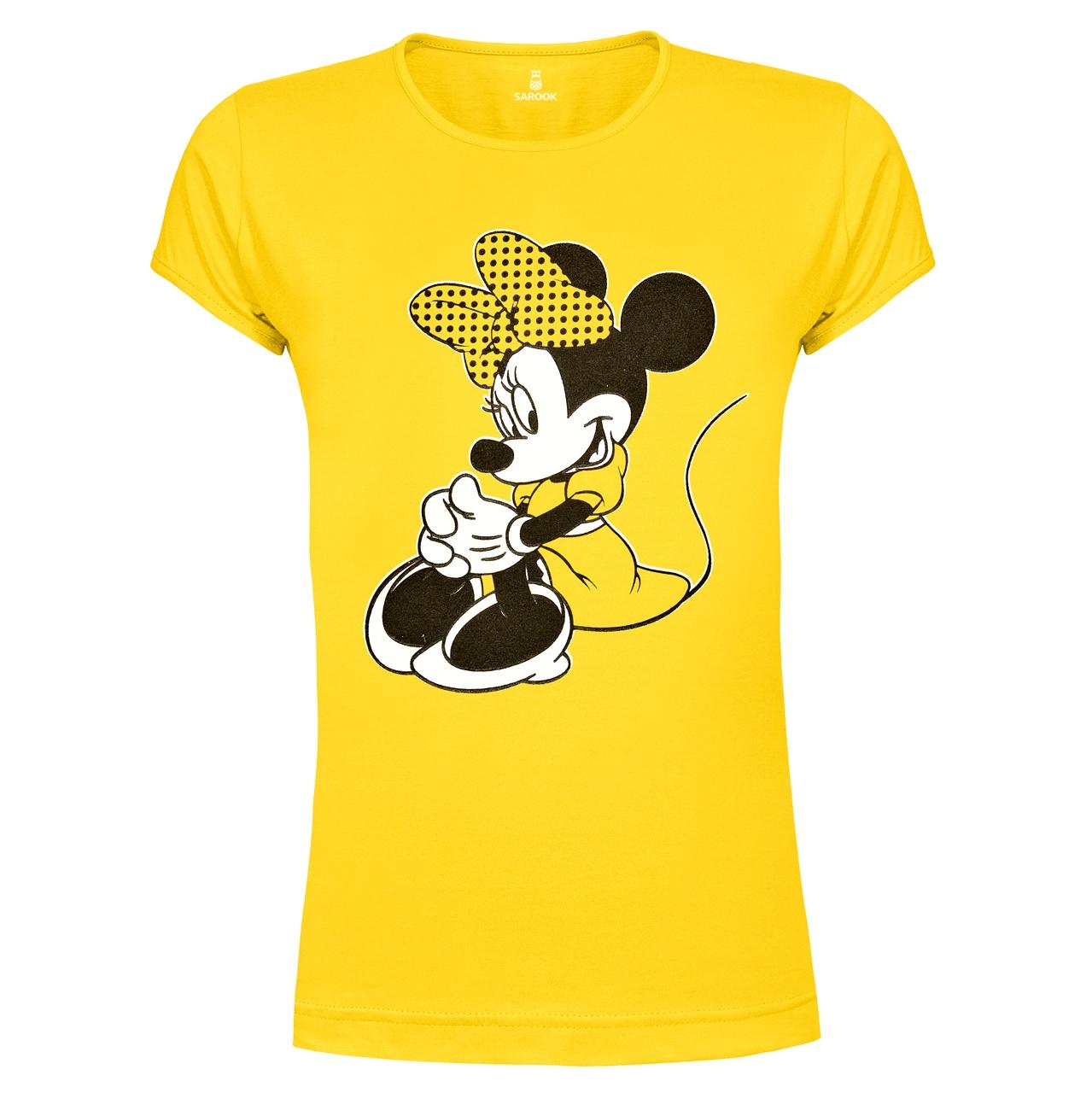 تصویر تی شرت زنانه ساروک طرح Minnie Mouse رنگ زرد