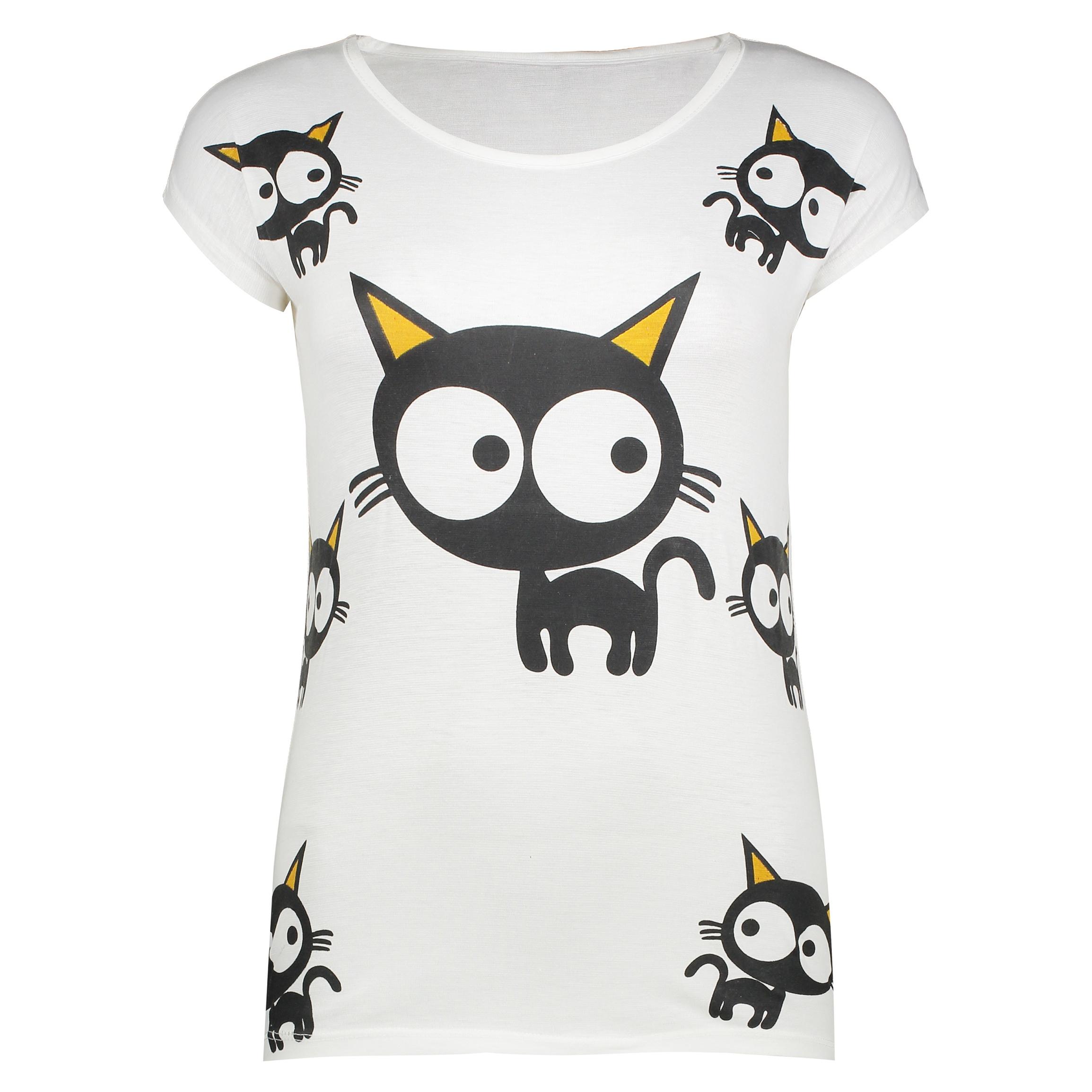 تی شرت زنانه طرح Cat's eye