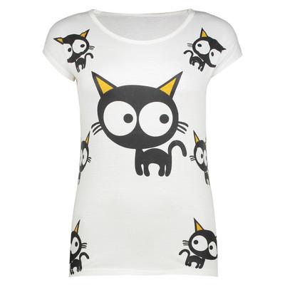 تصویر تی شرت زنانه طرح Cat's eye