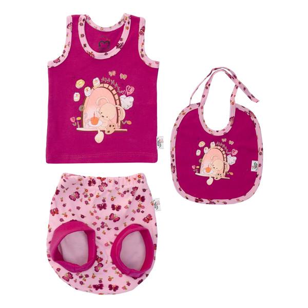 ست 3 تکه لباس نوزادی دخترانه آدمک طرح خرگوش و پروانه