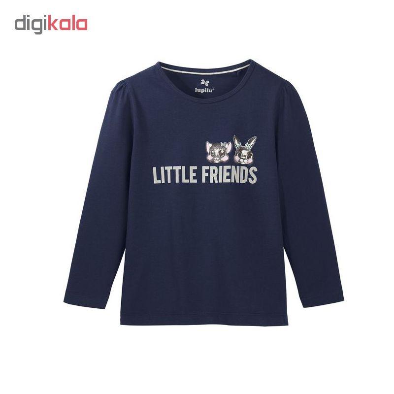 تی شرت آستین بلند دخترانه لوپیلو کد P2GLR مجموعه 2 عددی