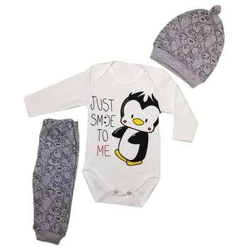 ست 3 تکه لباس نوزادی طرح پنگوئن کد 003