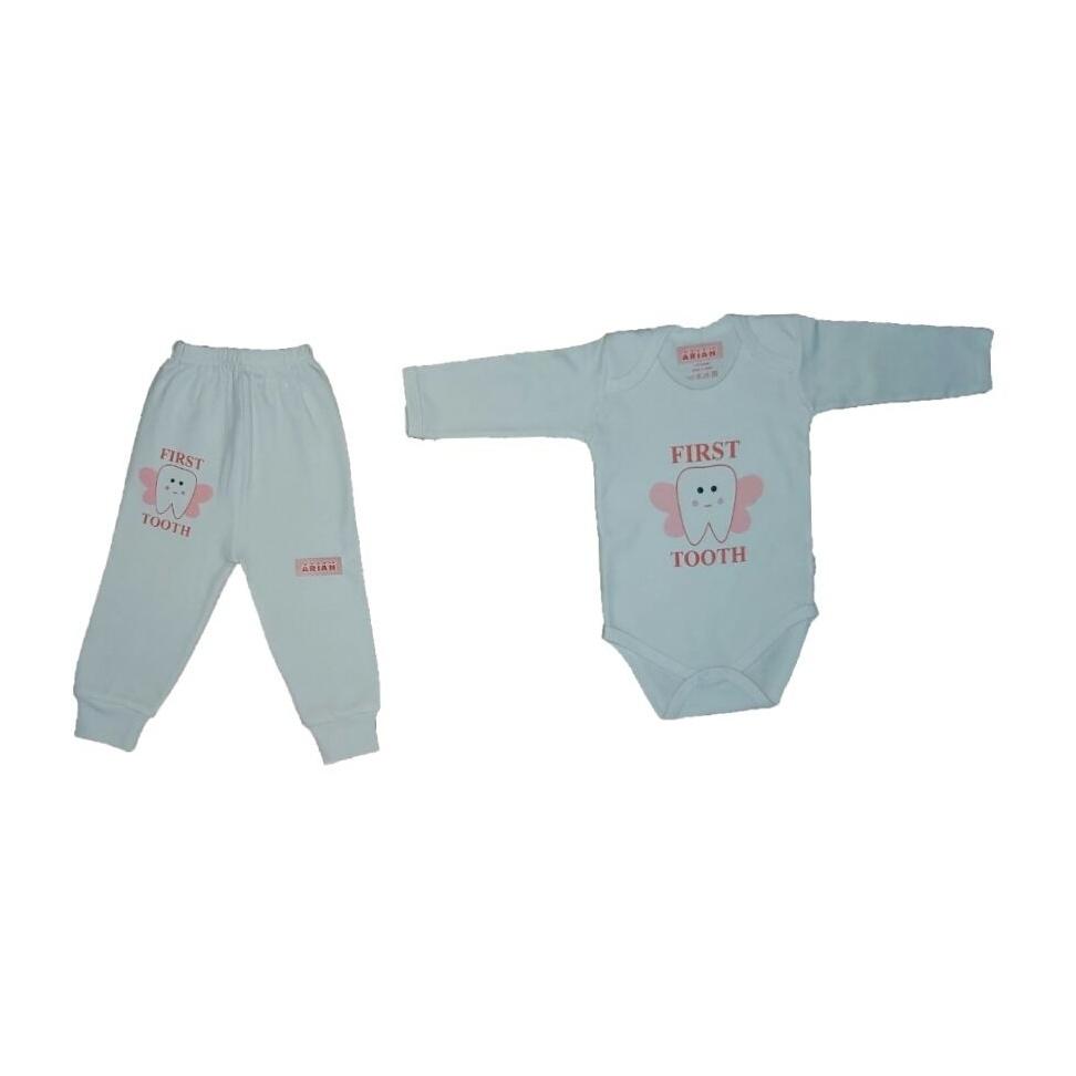 ست بادی و شلوار نوزادی دخترانه طرح دندون کد t77285493-67