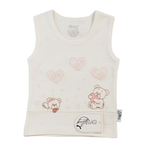 تاپ نوزادی دخترانه  اونیکس طرح قلب و خرس کد 021